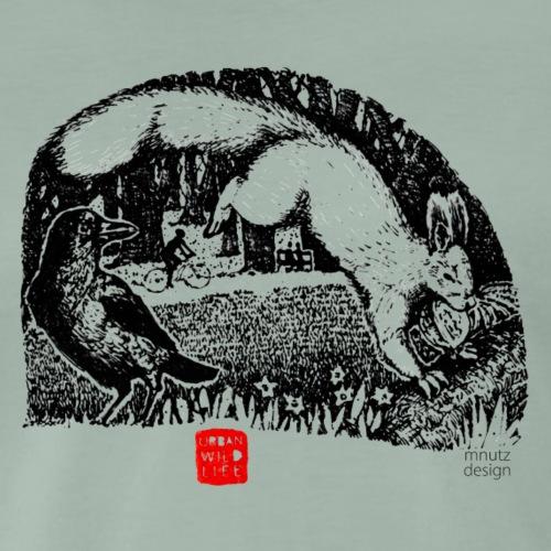 Urban Wildlife - Eichhörnchen und Krähe - Männer Premium T-Shirt