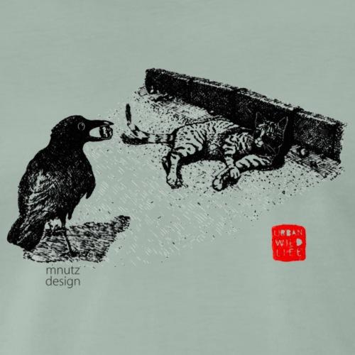 Urban Wildlife - Krähe und Katze - Männer Premium T-Shirt