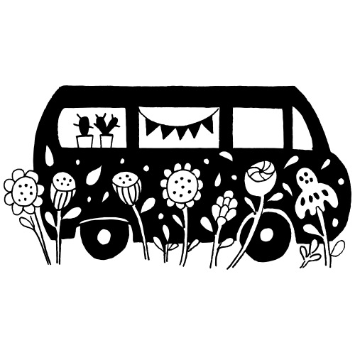 Flower Power Bus Liebe Florale Illustration - Männer Premium T-Shirt