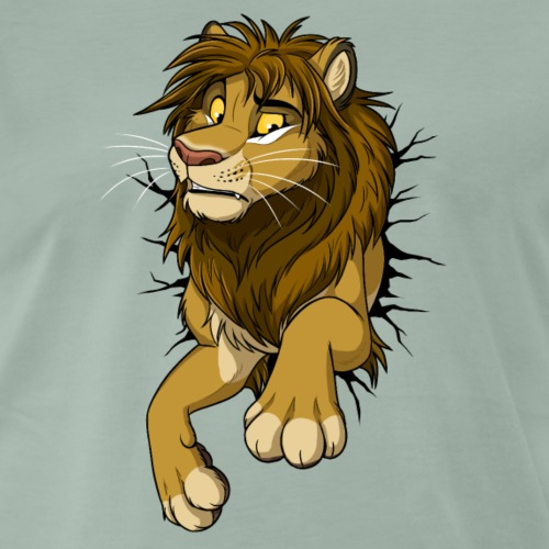 STUCK Lion / Löwe (black cracks) - Männer Premium T-Shirt