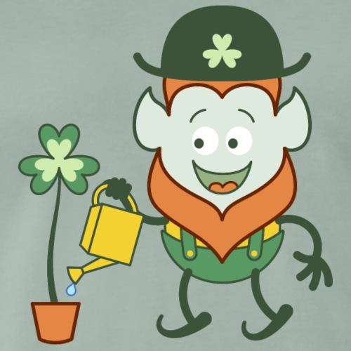 St Patrick's Day Leprechaun watering clover - Men's Premium T-Shirt