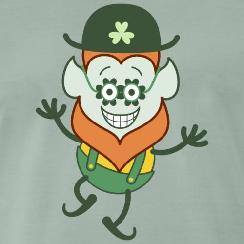 St Patrick's Day Leprechaun wearing clover glasses - Men's Premium T-Shirt