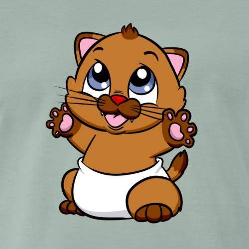 Steppi Baby Katze mit Pfötchen - Männer Premium T-Shirt