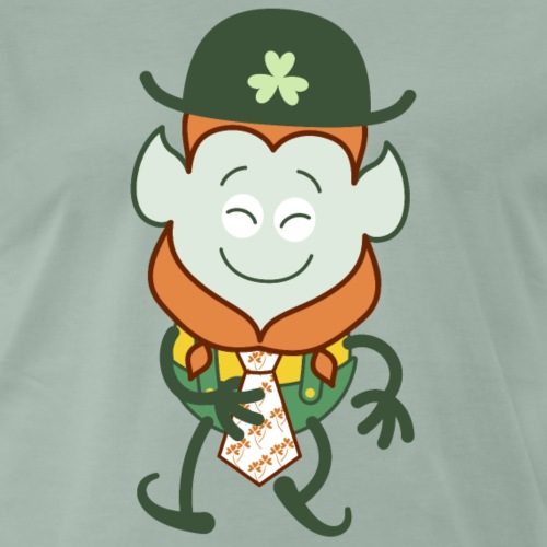 St Patrick's Day Leprechaun wearing clover tie - Men's Premium T-Shirt