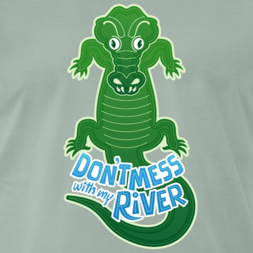 Crocodile warning not to touch his river - Men's Premium T-Shirt