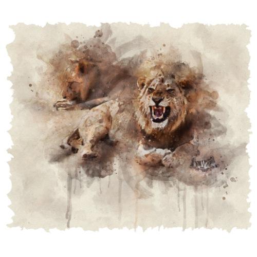 Aquarelle de lion 01 Bord mou - T-shirt Premium Homme
