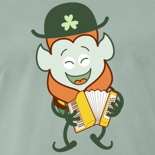 St Patrick's Day Leprechaun playing accordion - Men's Premium T-Shirt