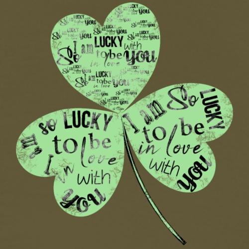 Green Clover With Love Typography / Fortuna e Amor - Maglietta Premium da uomo