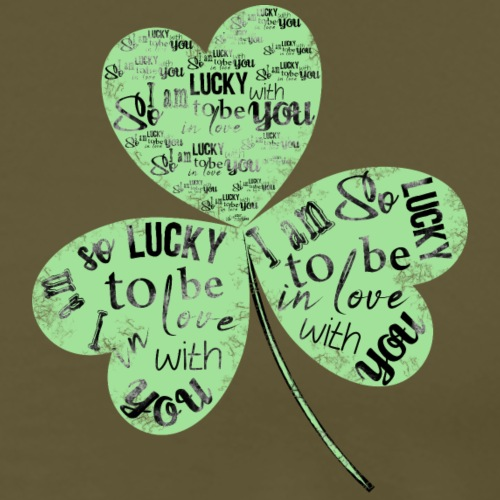 Green Clover With Love Typography / Fortuna e Amor - Maglietta Premium da uomo