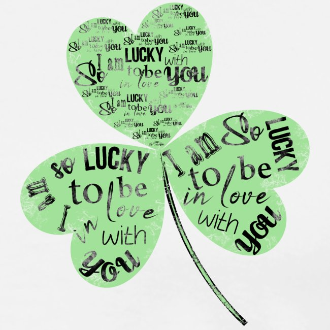 Green Clover With Love Typography / Fortuna e Amor