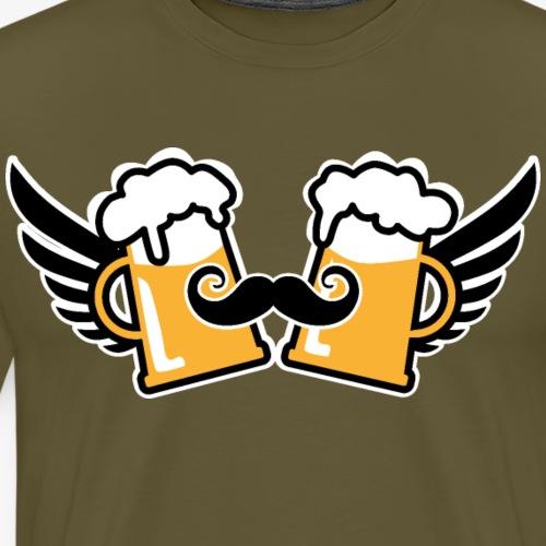 123 Zwei Bierkrüge Flügel Schnurrbart Prost