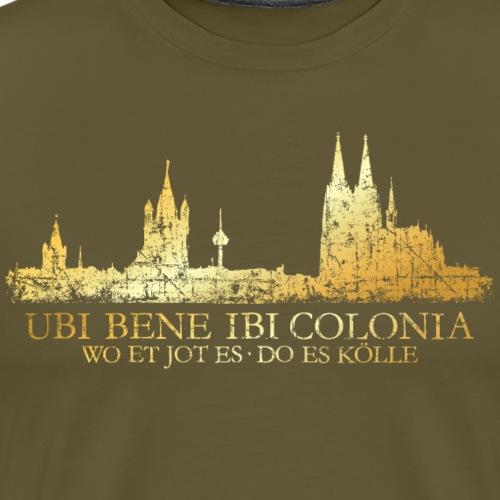 Kölner Skyline mit römischem Köln Spruch - Männer Premium T-Shirt