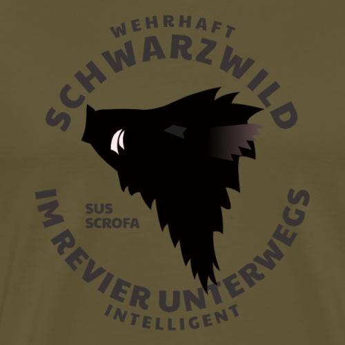 Schwarzwild im Revier-Shirt für Sauenjäger - Männer Premium T-Shirt