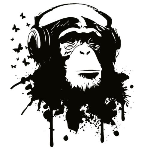 Affe mit Kopfhörer und Schmetterlinge - Männer Premium T-Shirt