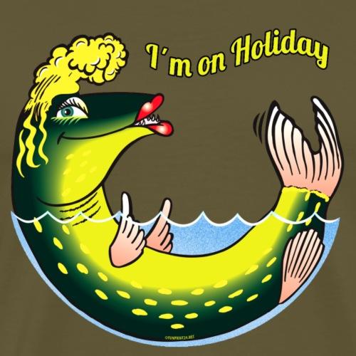 LADY FISH HOLIDAY - Haukileidi lomailee tekstiilit - Miesten premium t-paita