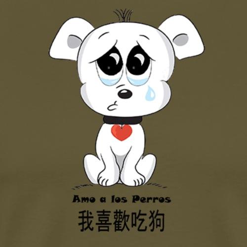 Animalista Broma, Me gusta comer perro en chino - Camiseta premium hombre