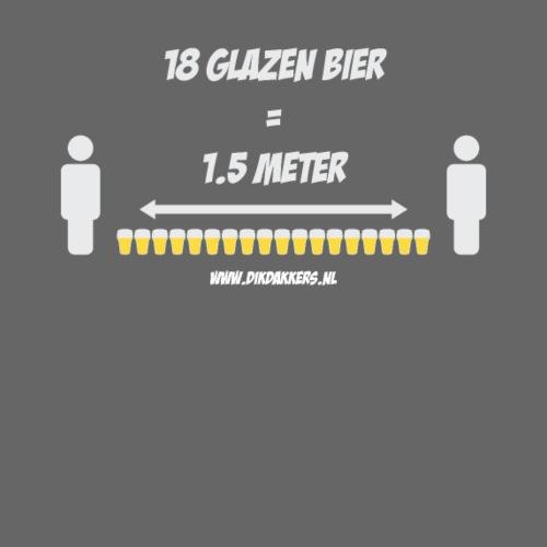 18 Glazen bier = 1,5 meter - Mannen Premium T-shirt