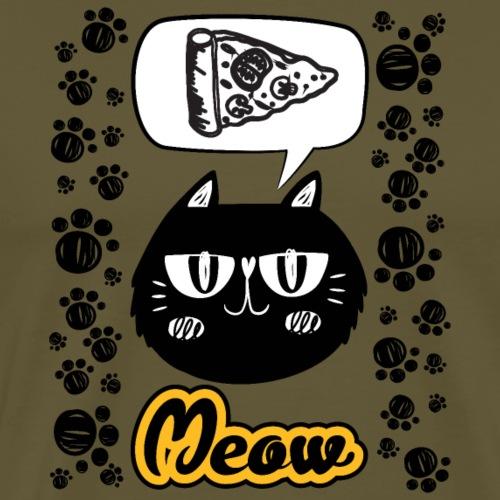 chat noir qui a faim et qui veux manger du pizza - T-shirt Premium Homme