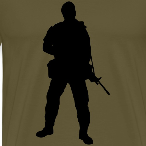 Swedish soldier with light machine gun and beret - Premium-T-shirt herr