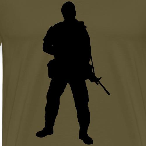Swedish soldier with light machine gun and beret - Premium-T-shirt herr