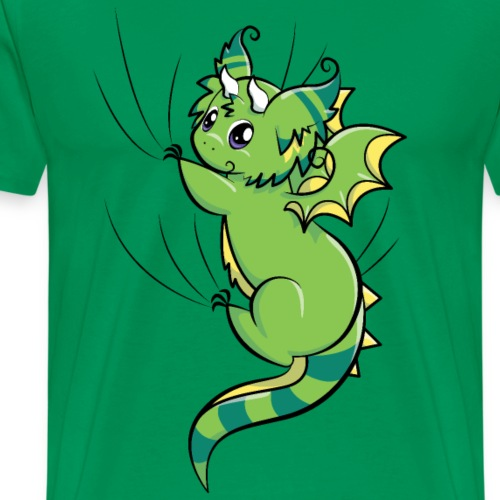 Green Fluffy Dragon - Hanging on - Men's Premium T-Shirt