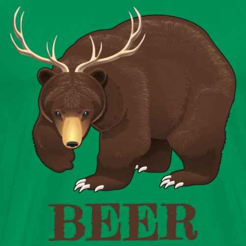 Beer Lover Gifts. Bear with Deer Antlers.Humourous - Men's Premium T-Shirt