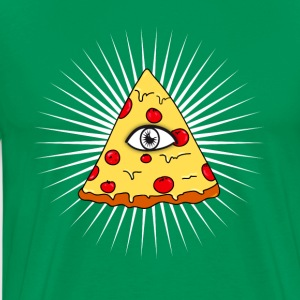 illuminati pizza eye lit fast food love f - Men's Premium T-Shirt