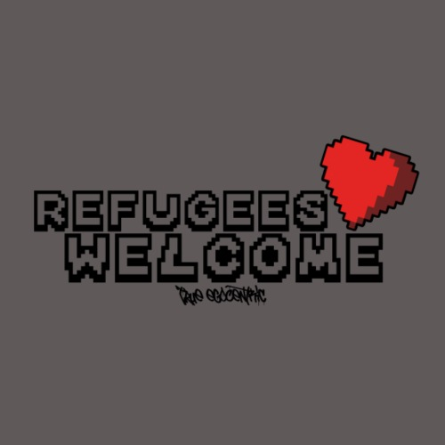 Refugees Welcome Pixel Design - Männer Premium T-Shirt