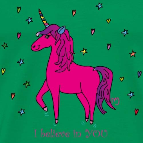Unicorn I believe in YOU - Männer Premium T-Shirt