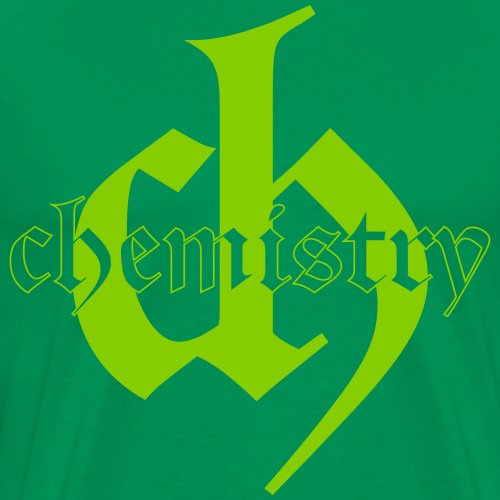Chemistry CH, logo and word printed in green - Mannen Premium T-shirt
