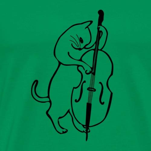 Katze mit Kontrabass - Männer Premium T-Shirt
