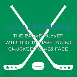 Hockey: goaltender - The Brave spiller Willing - Herre premium T-shirt