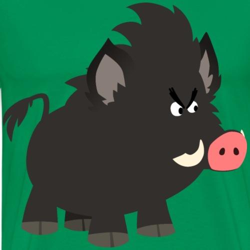 Grumpy Cartoon Wild Boar by Cheerful Madness!! - Men's Premium T-Shirt