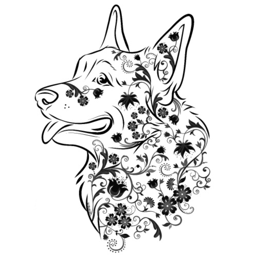 Flower Corgi Black - Miesten premium t-paita