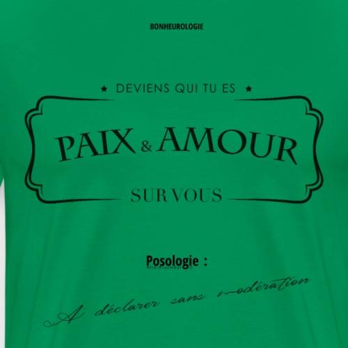 Aller Plus H4ut - Paix & Amour - Noir - T-shirt Premium Homme