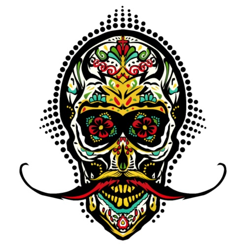 tete de mort mexicaine crane hipster skull moustac - T-shirt Premium Homme