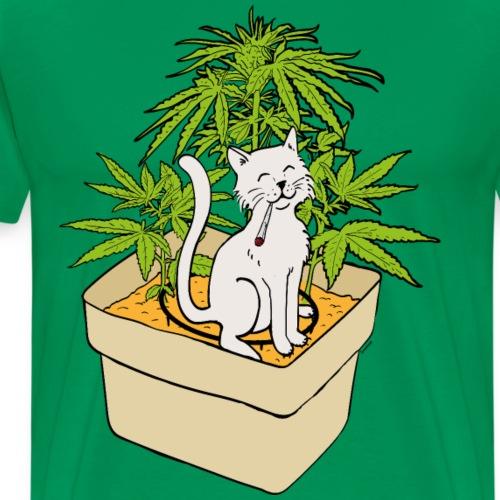 Chat et cannabis en culture indoor hydroponic - T-shirt Premium Homme