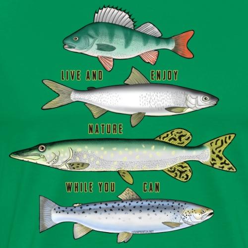 10-34B FOUR FISH - Tekstiili- ja lahjatuotteet. - Miesten premium t-paita