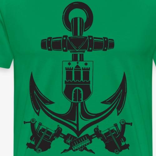 Anchor with crossed Tattoo Machines - Männer Premium T-Shirt