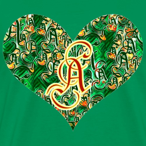 Red A in a green heart