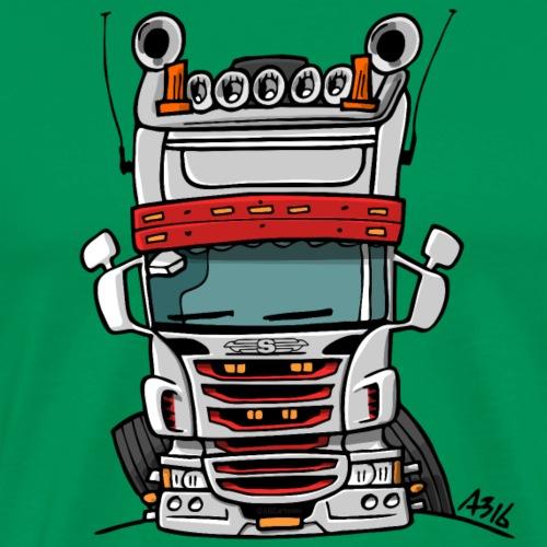 0323 S truck hoog grijs rood - Mannen Premium T-shirt