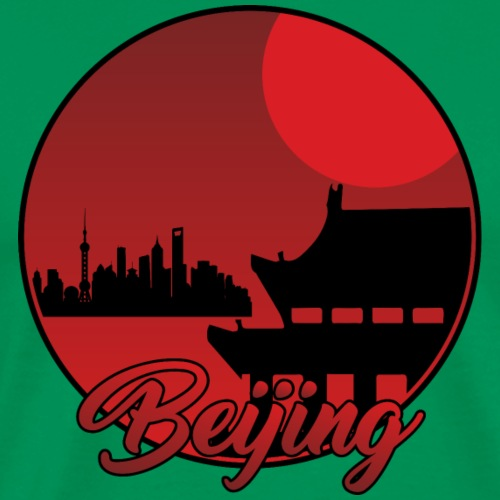 Beijing Red Night, Landscape & Silhouettes - Men's Premium T-Shirt