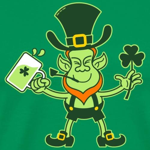 Leprechaun Drinking a Toast for St Patrick - Men's Premium T-Shirt
