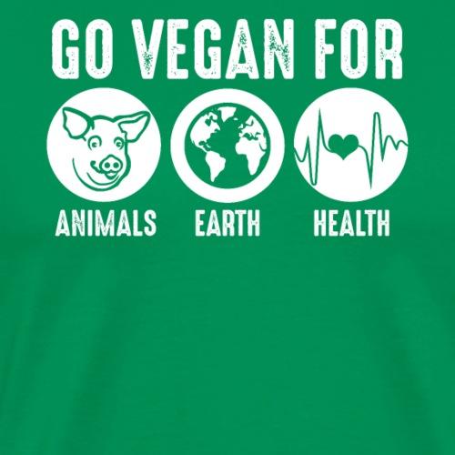 Go Vegan For Animals Earth and Health - Männer Premium T-Shirt