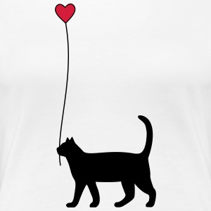 Cat with heart balloon - Women's Premium T-Shirt