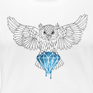 Dynamic Royal Owl V-Neck Tee - Women's Premium T-Shirt