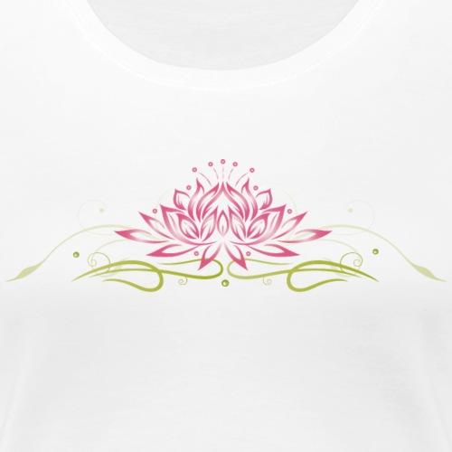 Lotus, Lotusblüte mit filigranem Tribal - Frauen Premium T-Shirt