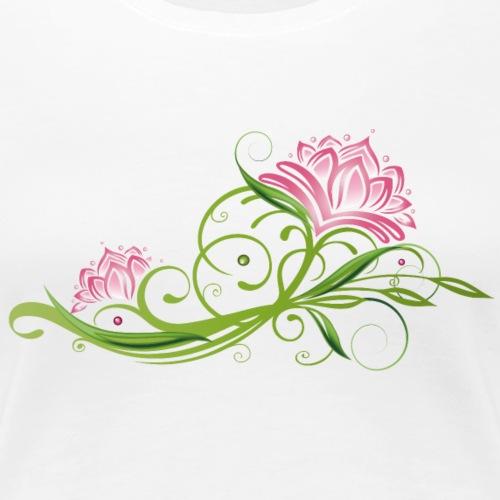 Lotusblüten mit Ranke und Blättern. Lotus. - Frauen Premium T-Shirt