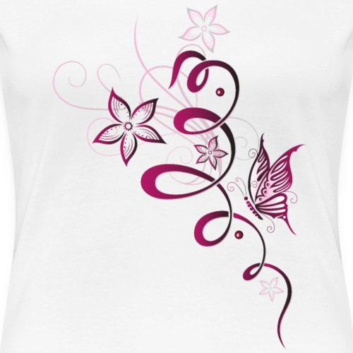 Blumen und Schmetterling. Kirschrot und rosa. - Frauen Premium T-Shirt