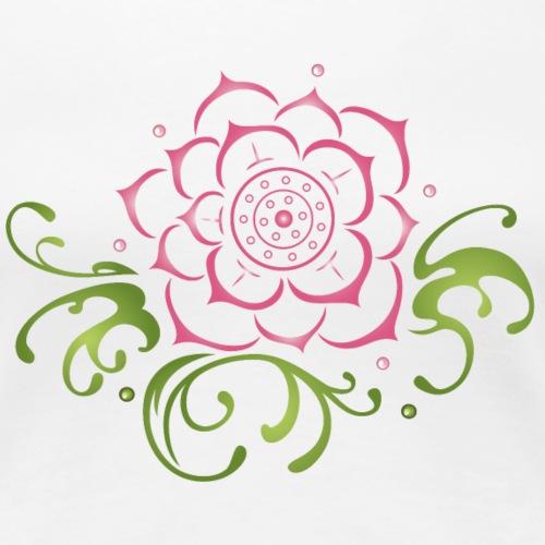 Große Lotusblüte mit Blättern. Lotus. - Frauen Premium T-Shirt